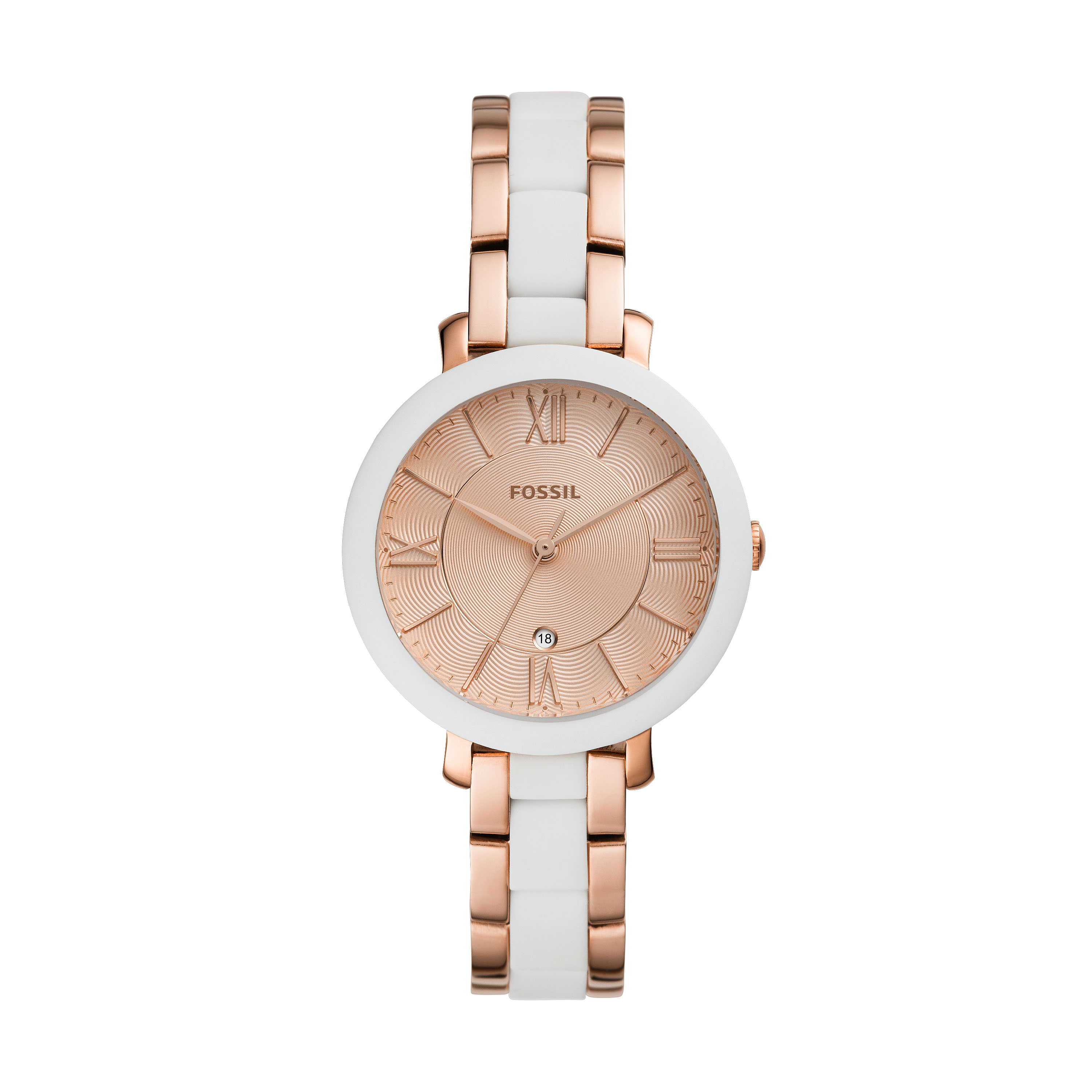 Fossil Jacqueline ES4588 Rose Gold Stainless Steel and White Ceramic Womens Watch