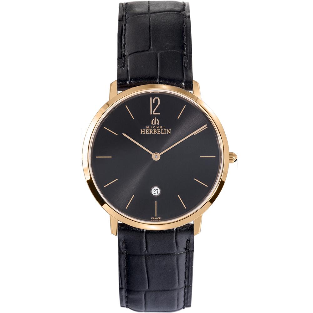 Michel Herbelin City 19515/PR14 Mens Black Leather Watch