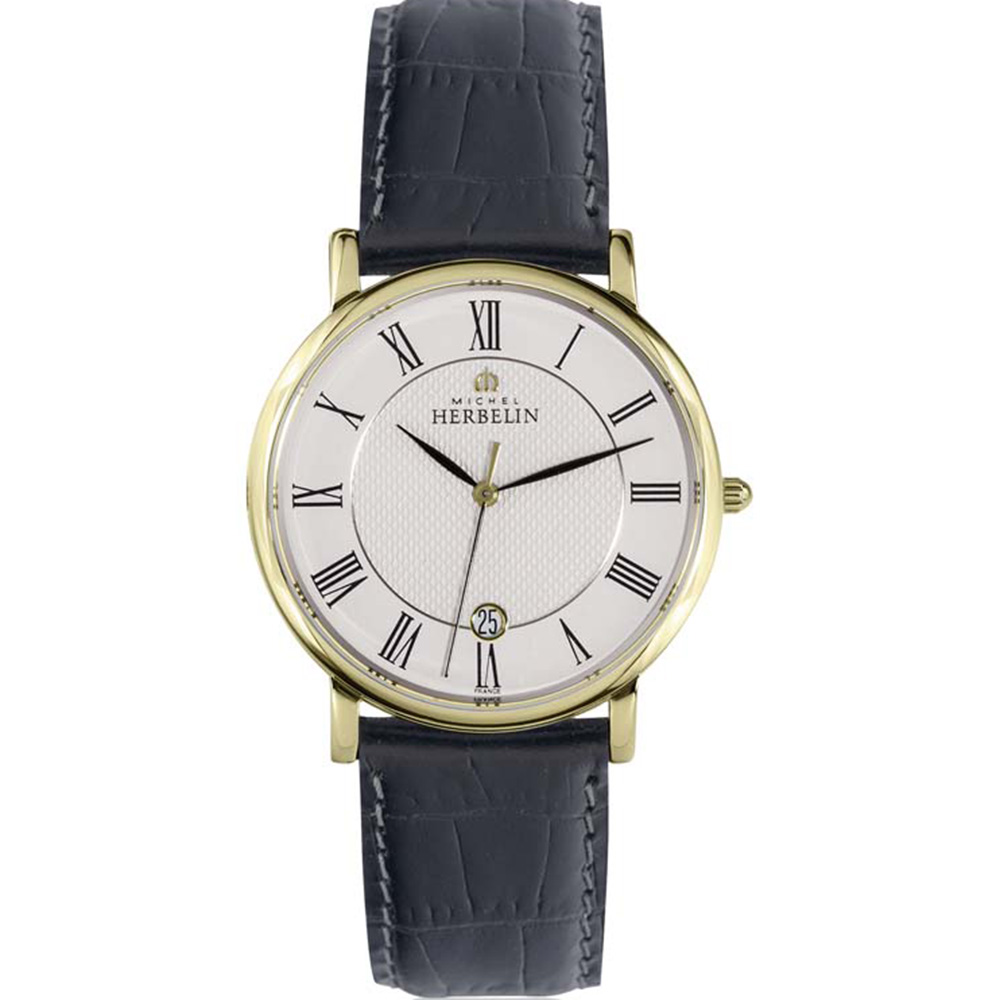 Michel Herbelin Sonates 12248/P08 Mens Black Leather Watch