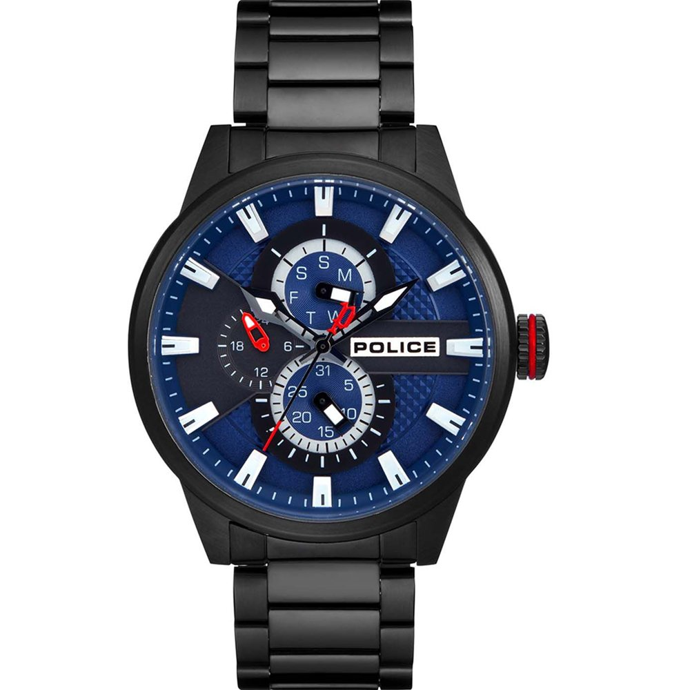 Police Lincoln Blue Dial Black Mens Watch