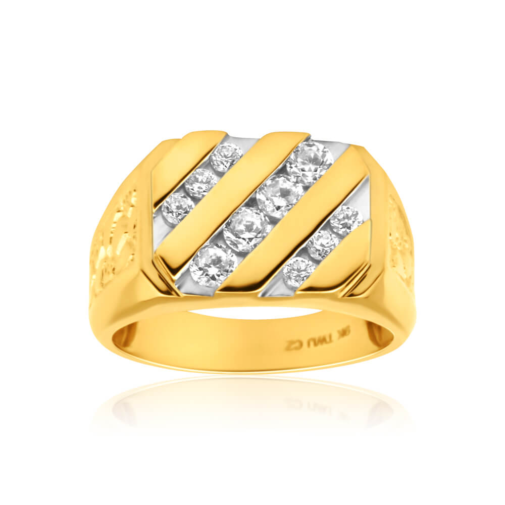 9ct Yellow Gold Diagonal Row Channel Set Cubic Zirconia Gents Ring