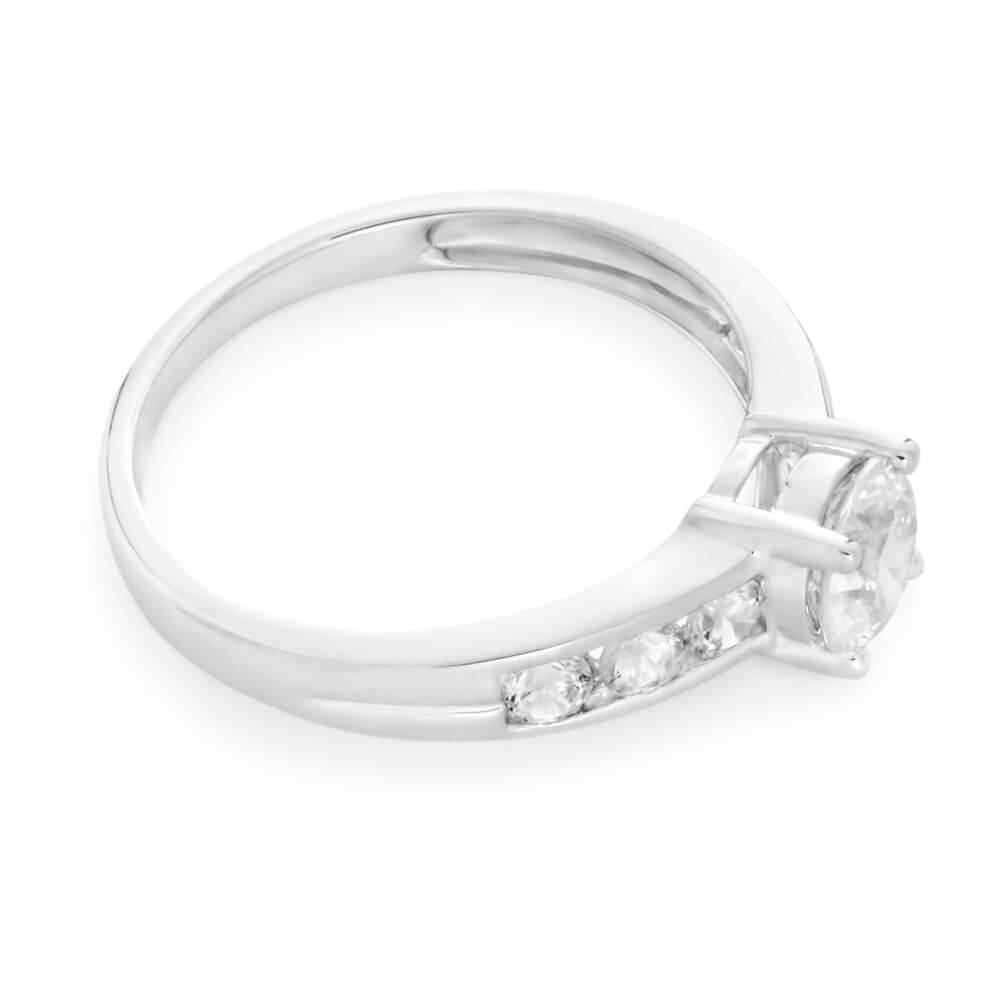 9ct White Gold Cubic Zirconia 6mm Solitaire Fancy Ring