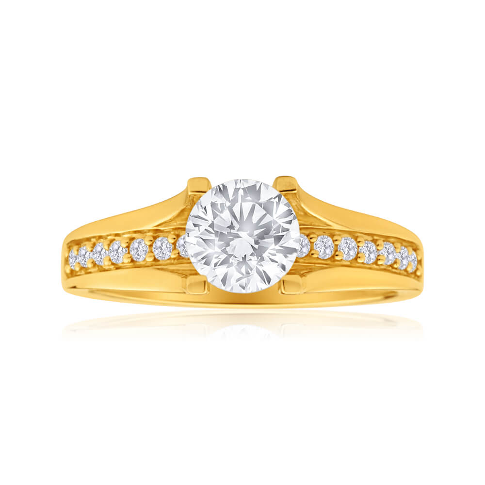 9ct Yellow Gold Round Cubic Zirconia 4 Claw and Channel Set Ring