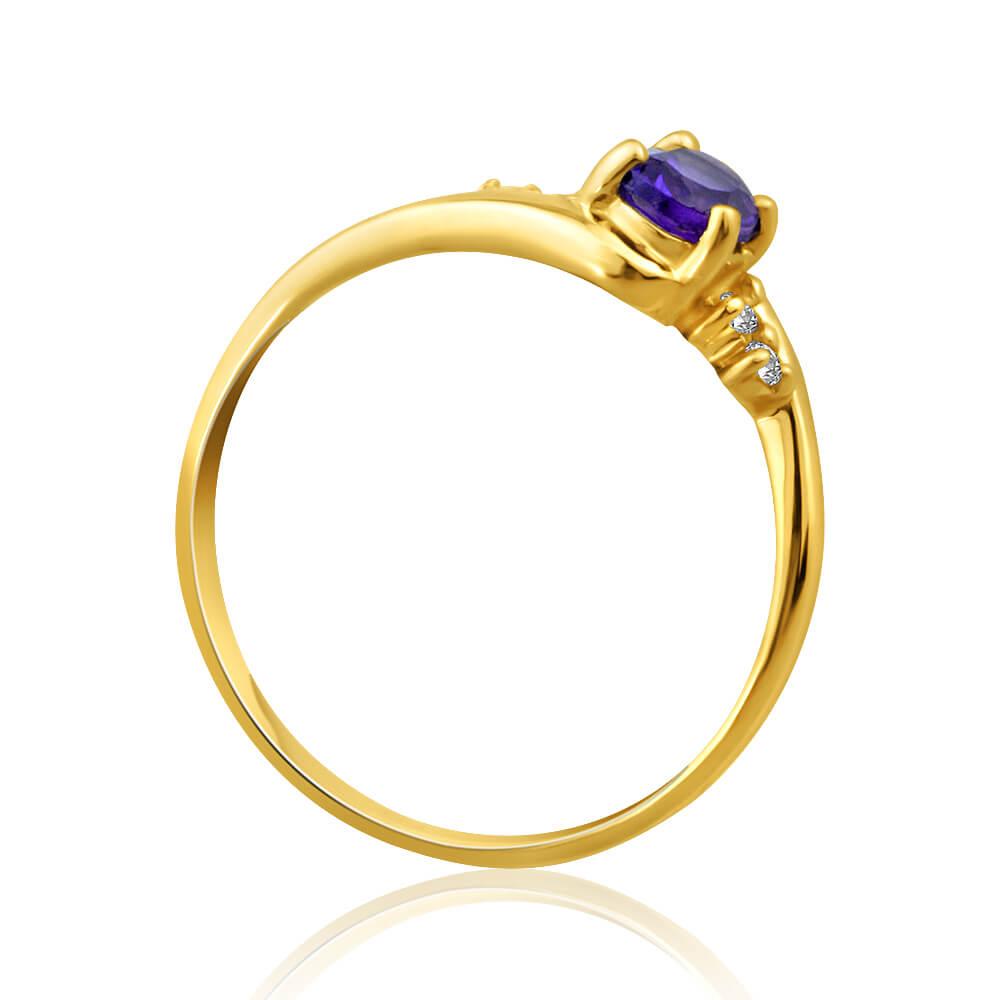 9ct Yellow Gold Amethyst + Cubic Zirconia Swirl Ring