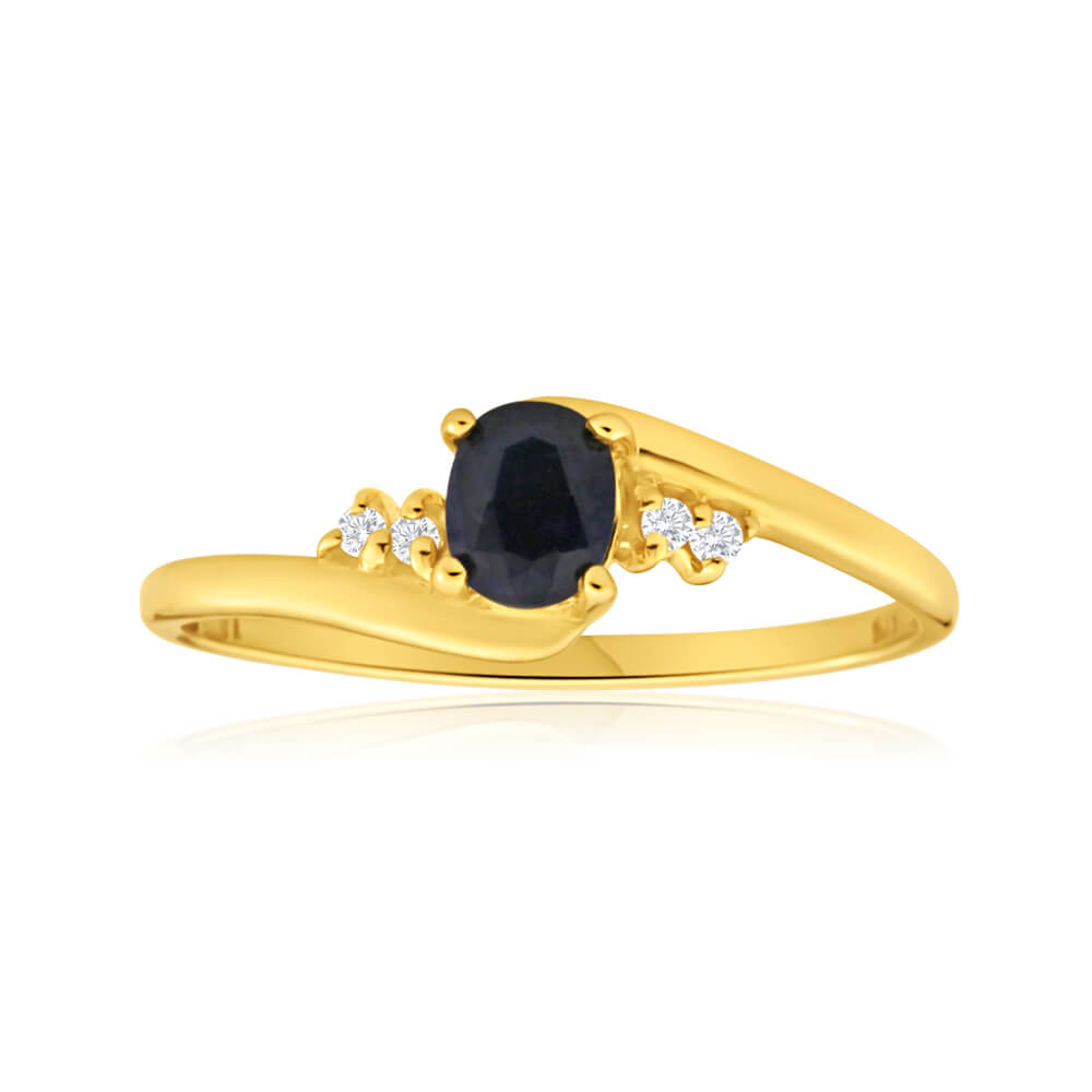 9ct Yellow Gold Cubic Zirconia + Natural Black Sapphire Ring