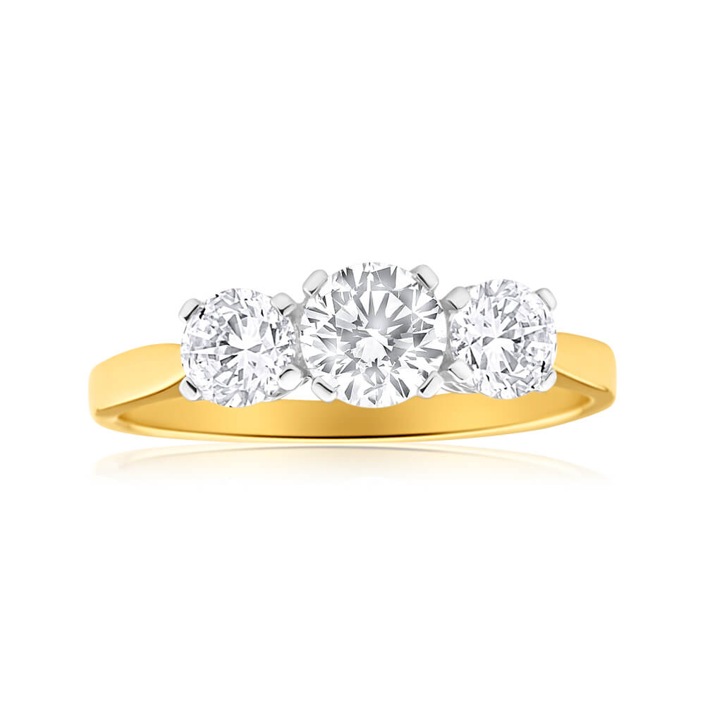 9ct Yellow Gold Trilogy Cubic Zirconia Ring