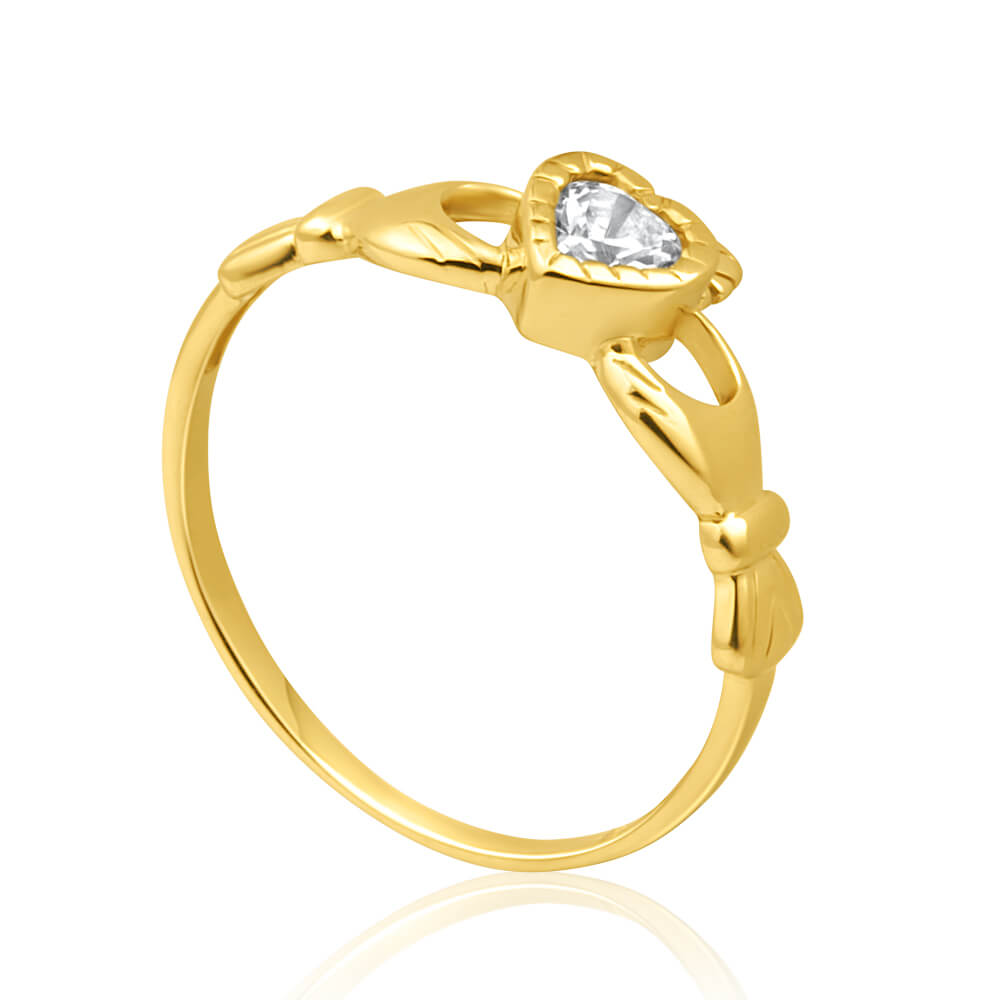 9ct Yellow Gold Cubic Zirconia Heart Claddagh Ring