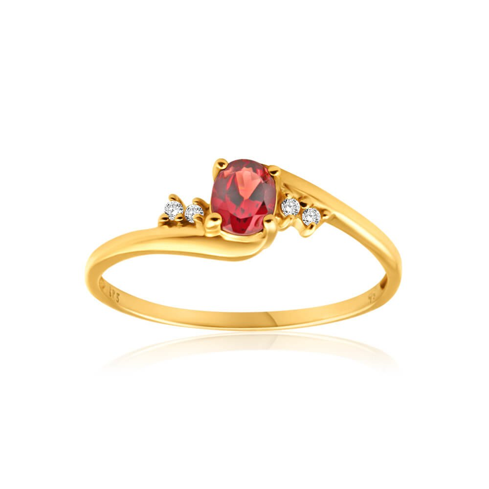 9ct Yellow Gold Cubic Zirconia + Garnet Ring