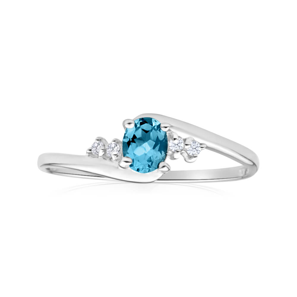 9ct White Gold Oval Cut Blue Topaz + Cubic Zirconia Ring
