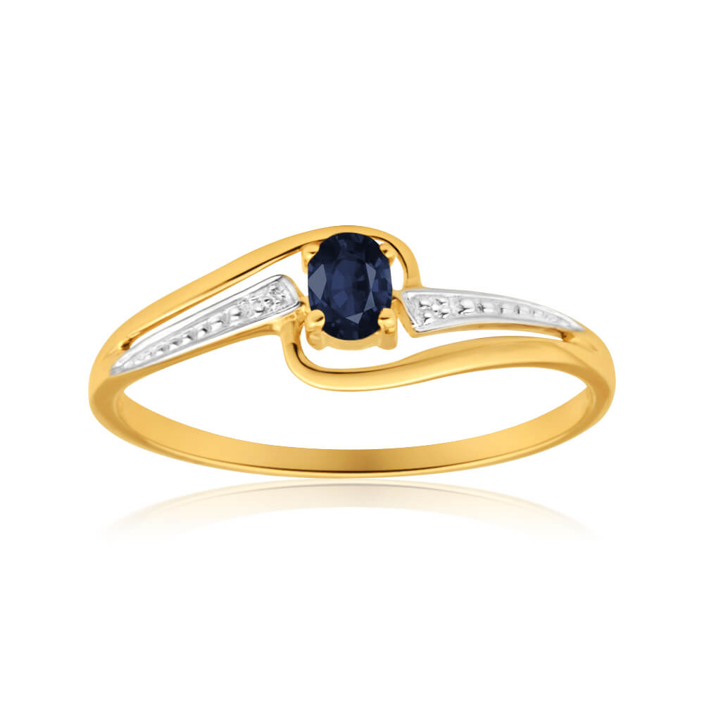 9ct Yellow Gold Alluring Natural Black Sapphire Ring