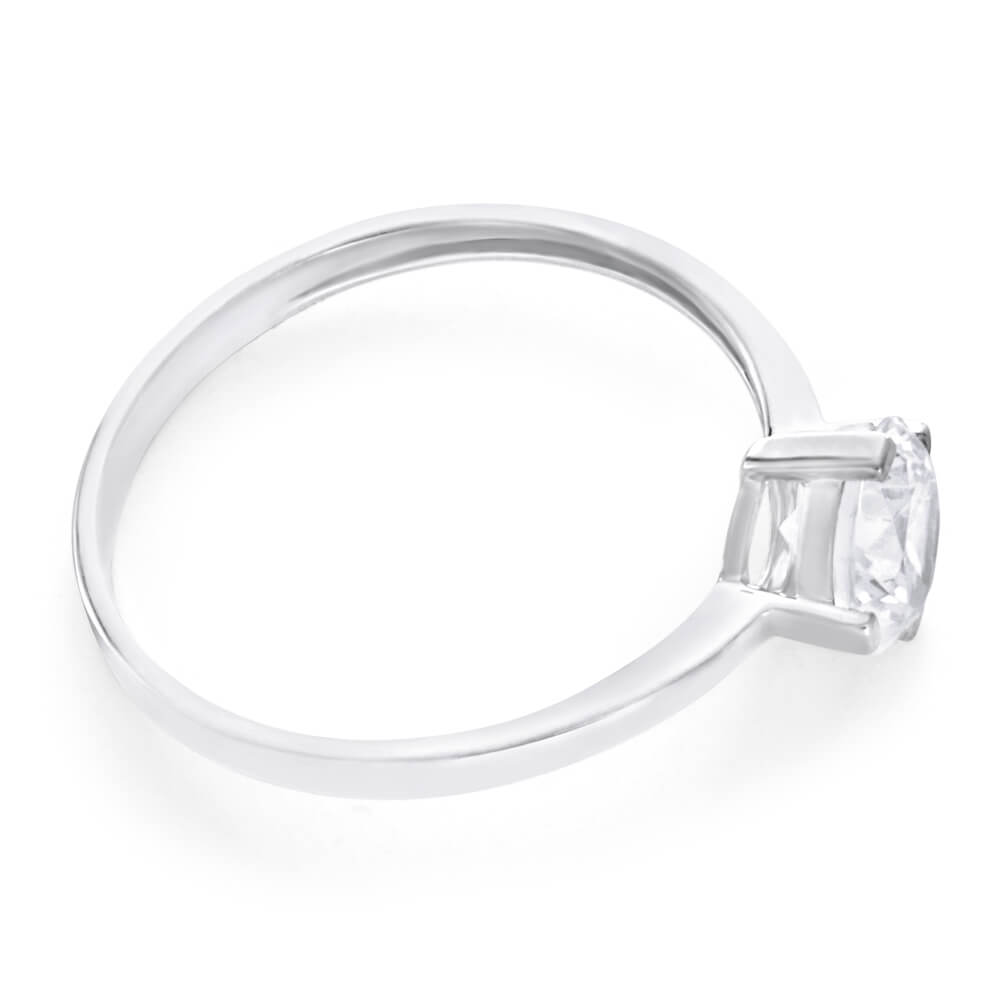 9ct White Gold Zirconia Rounded Ring