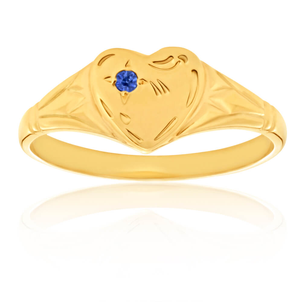 9ct Yellow Gold Sapphire Heart Signet Ring Size L