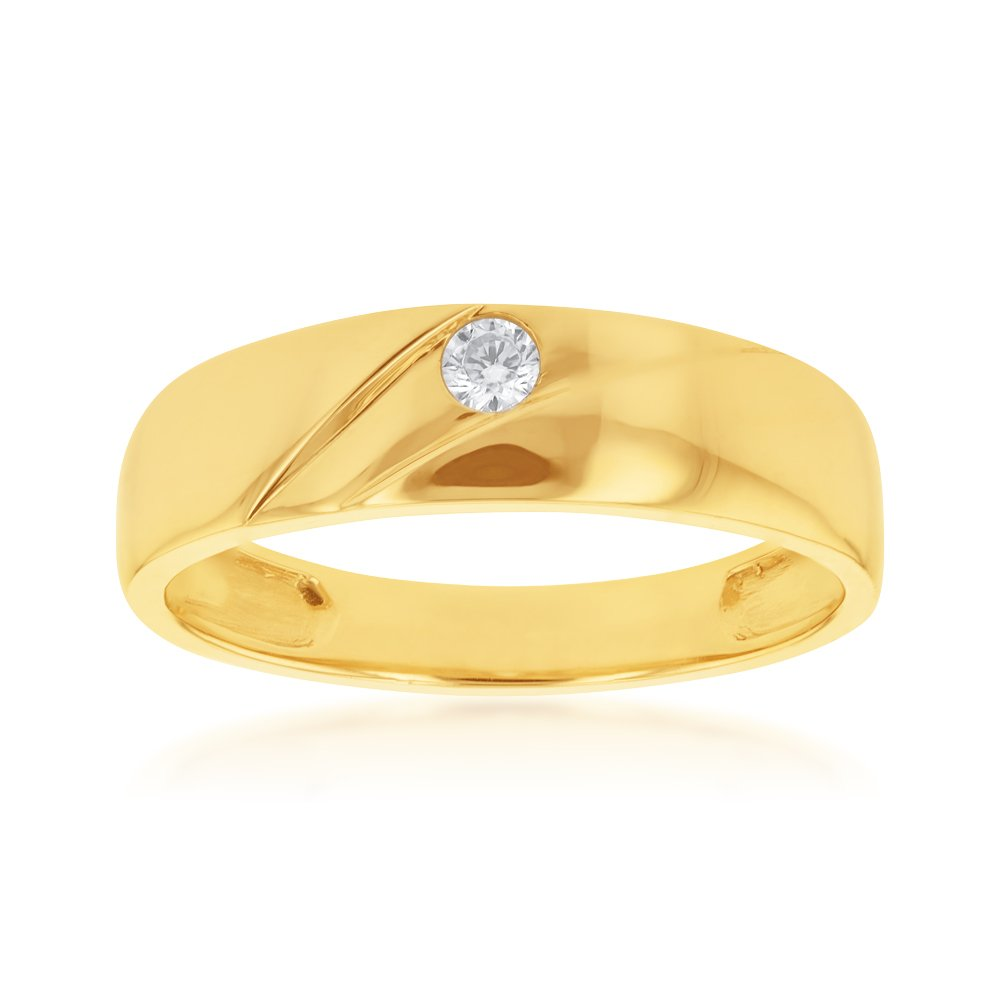 9ct Yellow Gold Round Cubic Zirconia Gents Ring