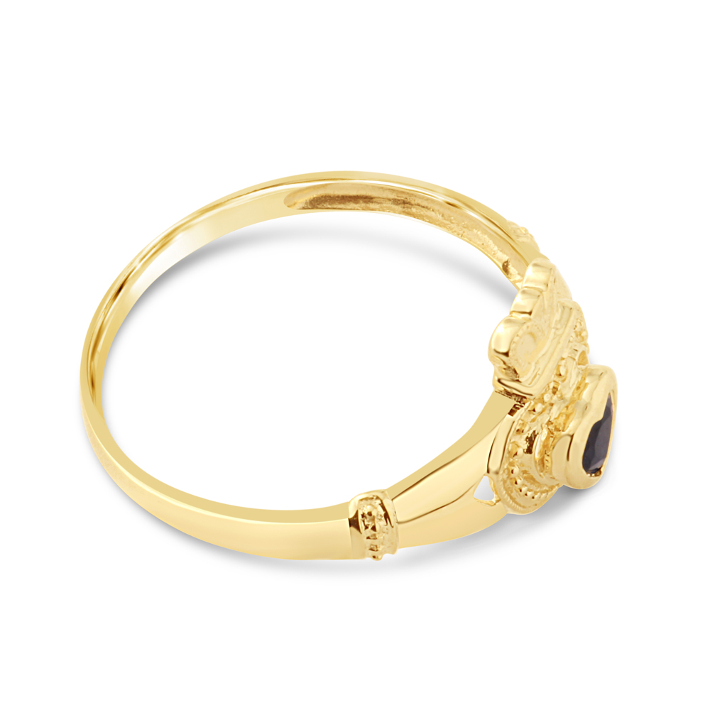 9ct Yellow Gold Natural Sapphire Claddagh Ring