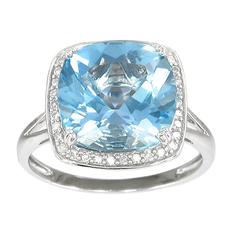 Sterling Silver Blue Topaz 12mm Cushion Cut & White Topaz Ring