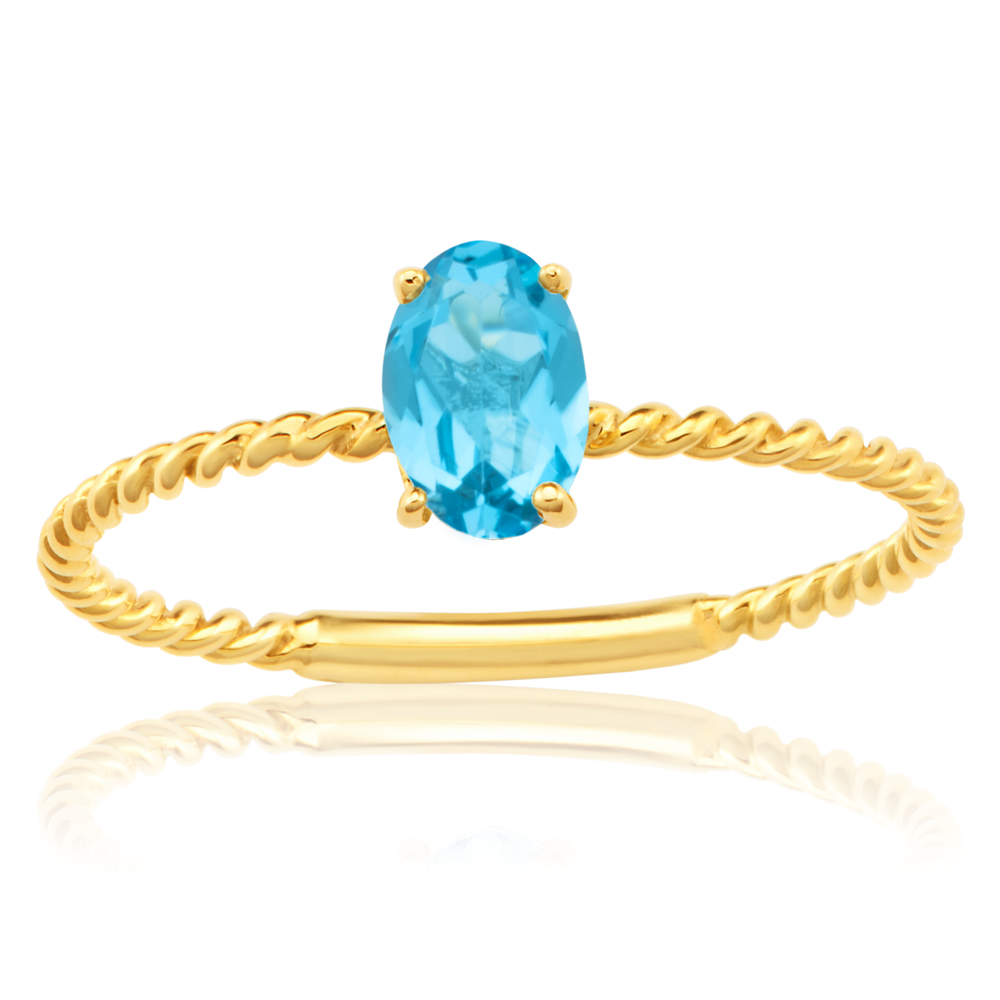 9ct Yellow Gold Natural Blue Topaz Ring