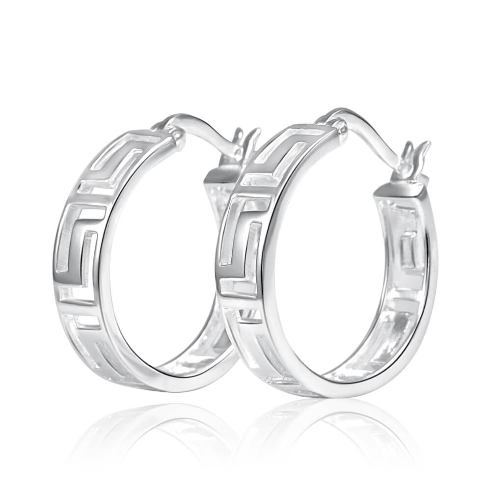 Sterling Silver Hoop Greek Key Earrings