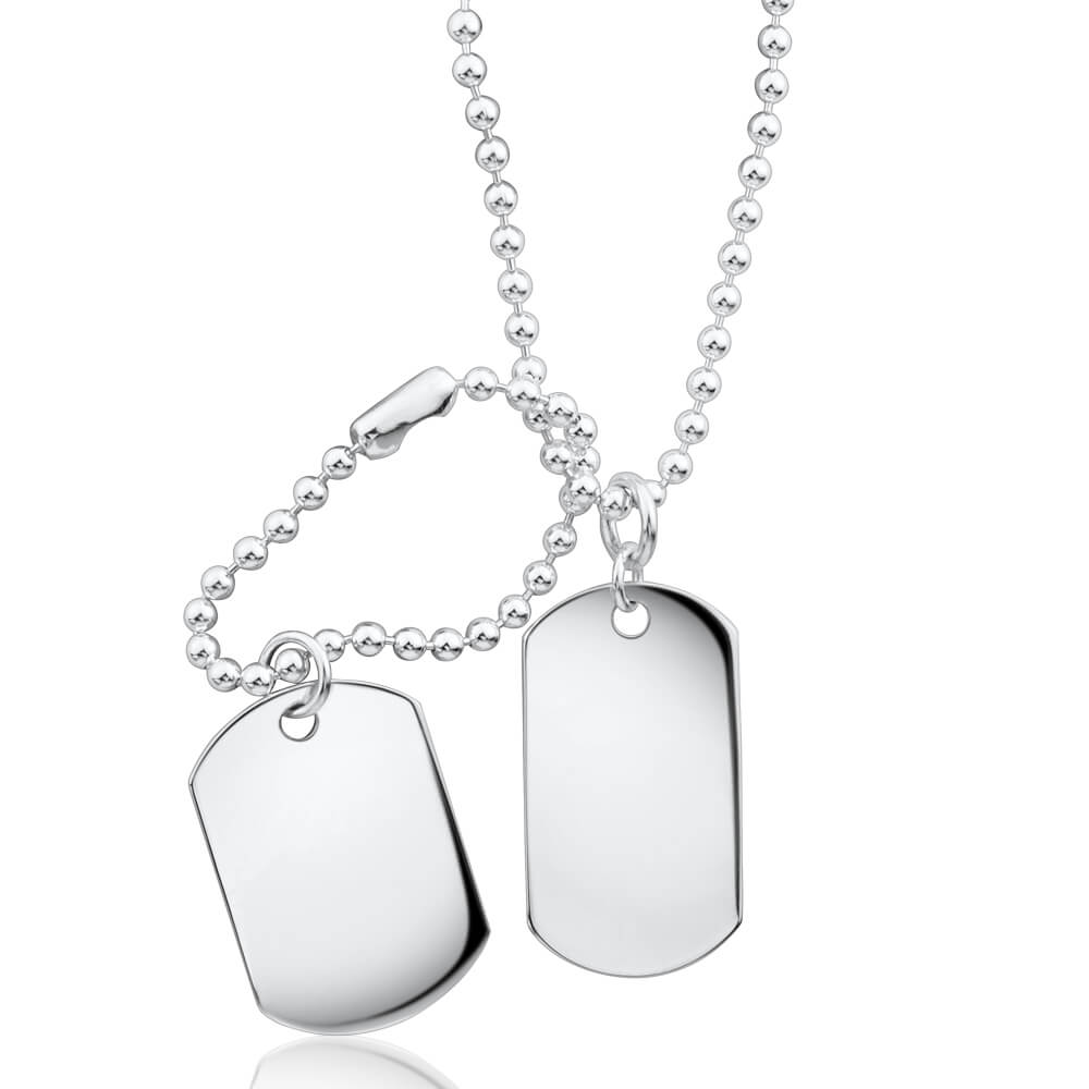 Sterling Silver Dog Tags Pendant With 50cm Chain