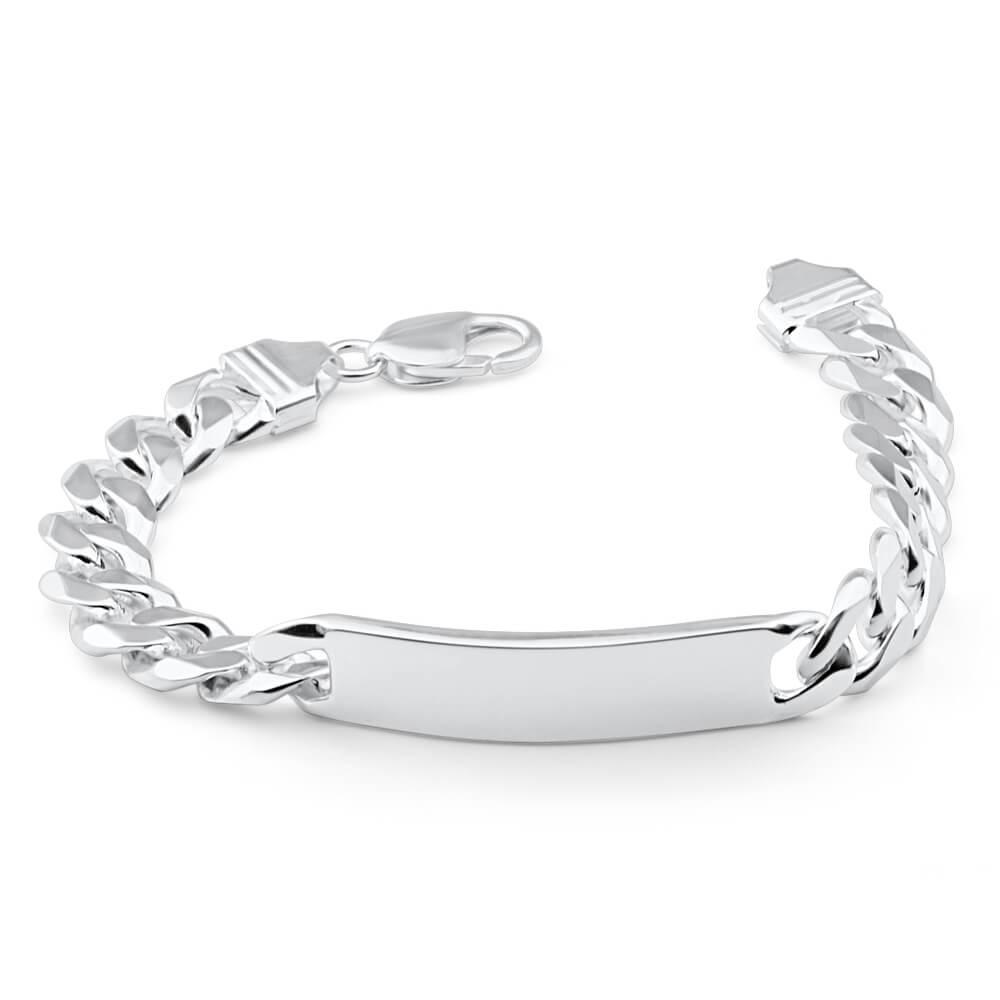 Sterling Silver Heavy Curb 300 Gauge ID Bracelet 22cm