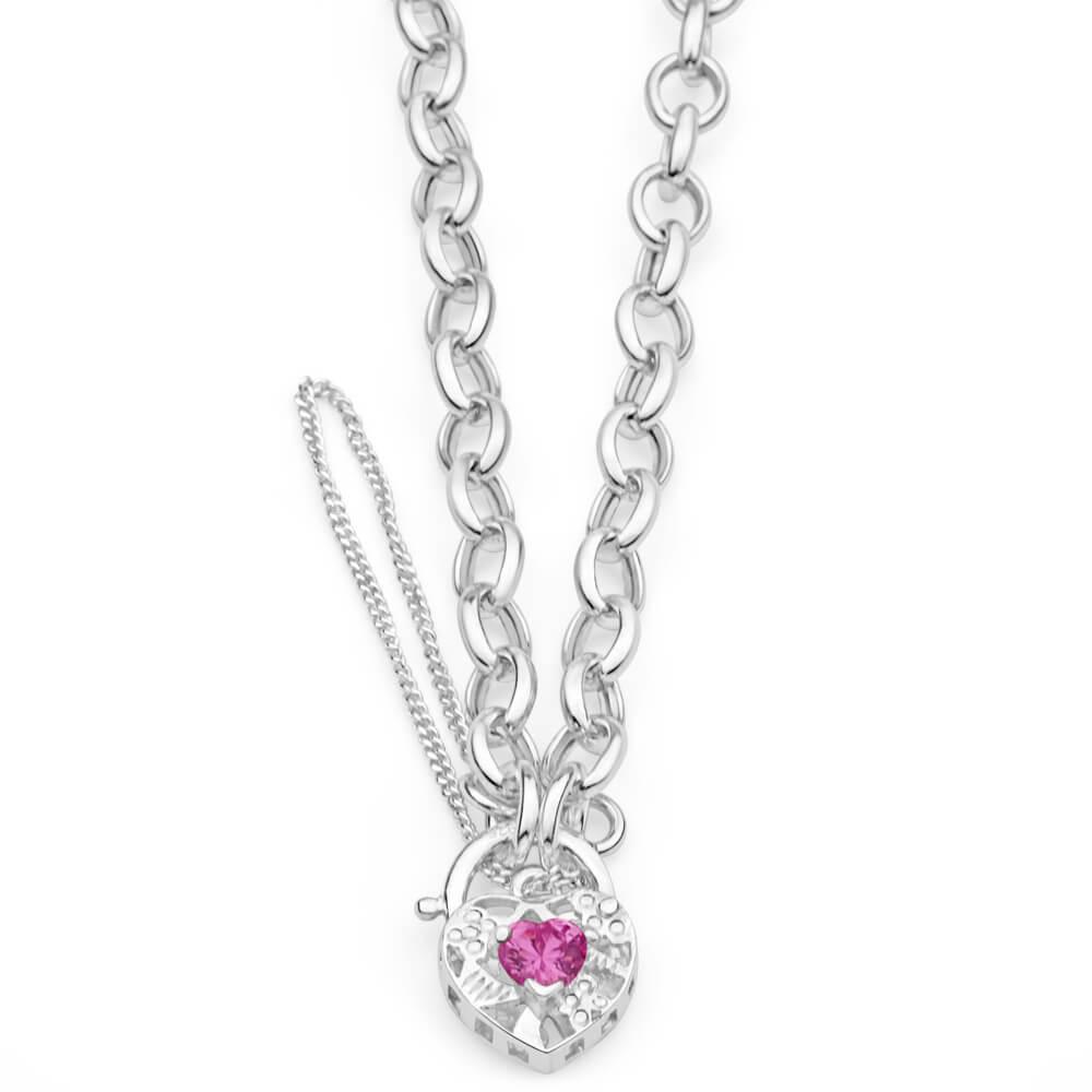 Sterling Silver Pink Cubic Zirconia Belcher Padlock Bracelet