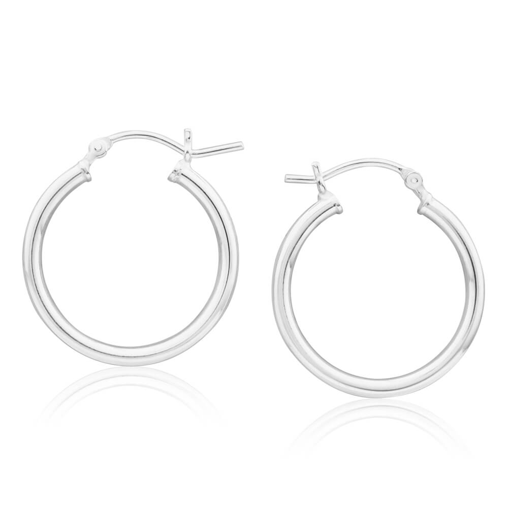 Sterling Silver 25mm Plain Hoop Earrings