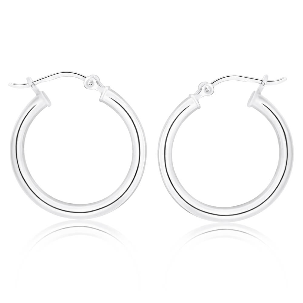 Sterling Silver 19mm Plain Hoop Earrings
