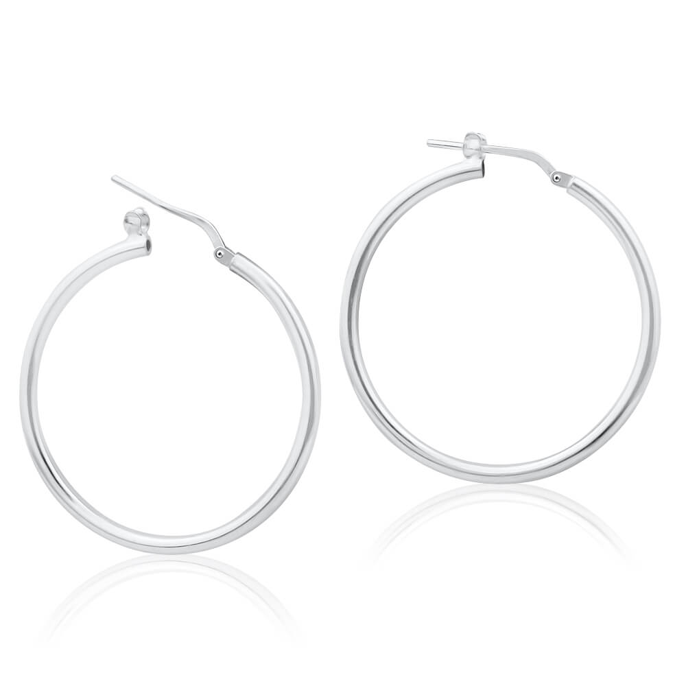Sterling Silver 30mm Plain Thin Hoop Earrings