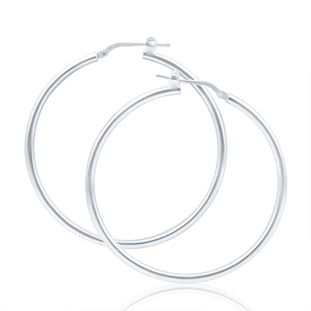 Sterling Silver 40mm Plain Thin Hoop Earrings