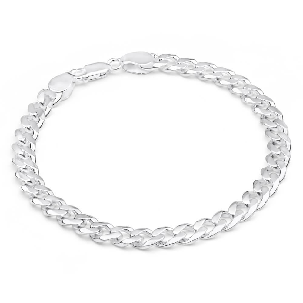 Sterling Silver Heavy 200 Gauge 23cm Curb Bracelet