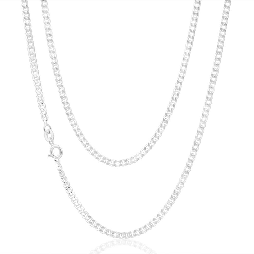 Sterling Silver 80 Gauge Diamond Cut 50cm Curb Chain