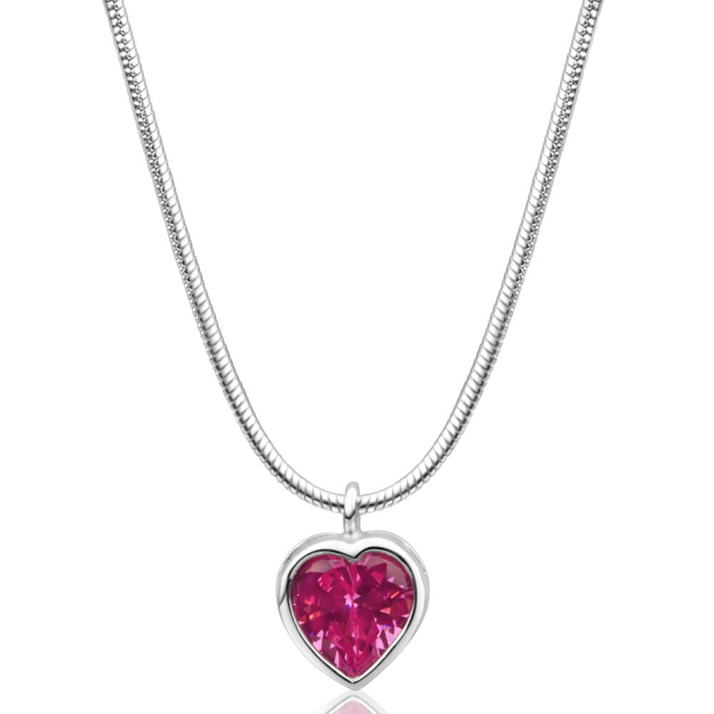 Sterling Silver Pink Cubic Zirconia Heart Pendant With 40cm Snake Chain
