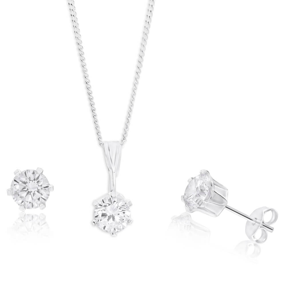 Sterling Silver Cubic Zirconia Stud Earrings and Pendant on Chain Set