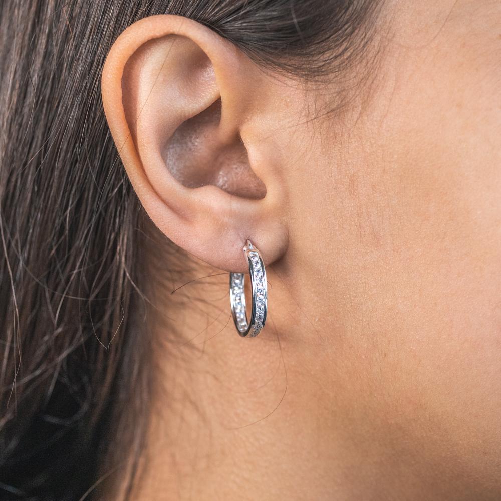 Sterling Silver Cubic Zirconia 18mm Hoop Earrings