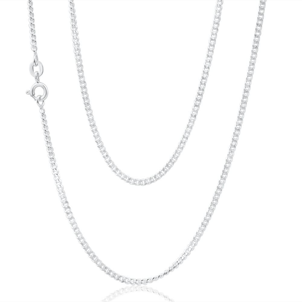 Sterling Silver Diamond Cut 60cm Curb Chain