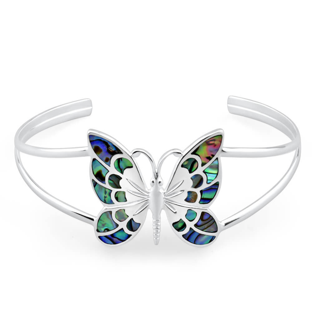 Sterling Silver Shell Butterfly 60mm Bangle