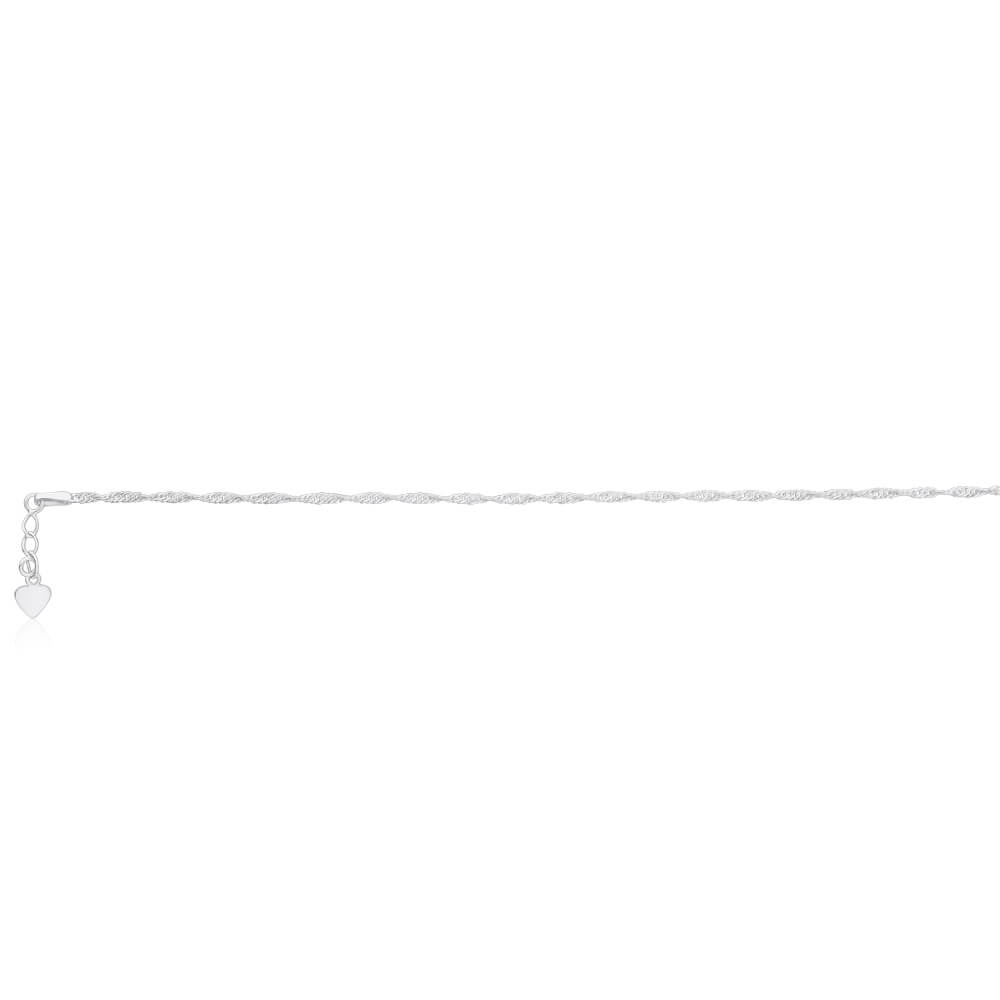 Sterling Silver 26cm Singapore Chain Anklet with Drop Heart