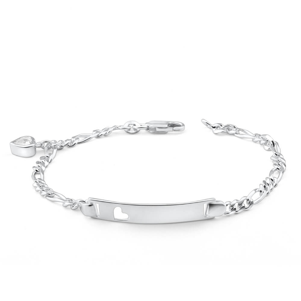 Sterling Silver 19cm Figaro 1-3 Open Heart ID Bracelet with Zirconia Heart Charm