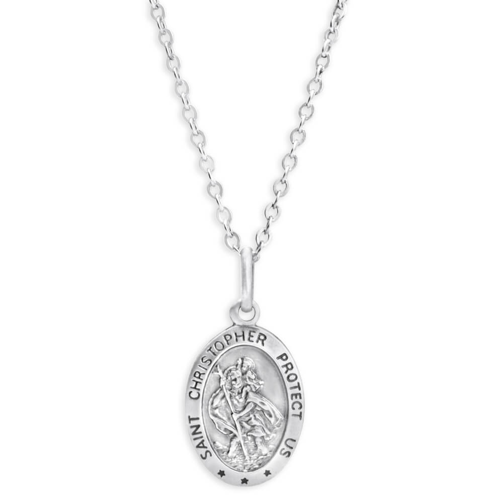 Sterling Silver St Christopher Oval Pendant