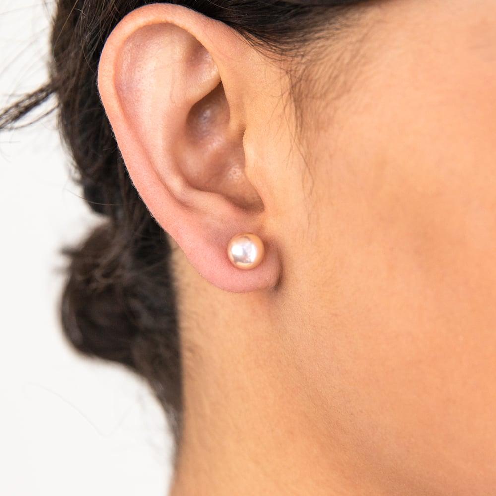Sterling Silver Pink Freshwater Pearl Stud Earrings