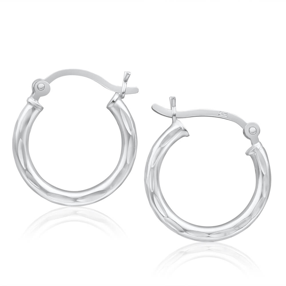 Sterling Silver 18mm Fancy Hoop Earrings
