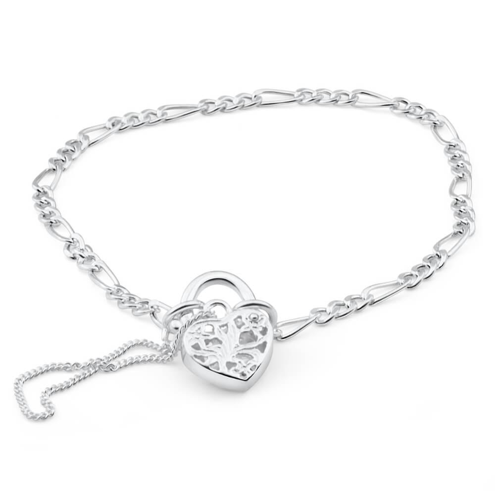 Sterling Silver Figaro 1:3 Heart Padlock Bracelet