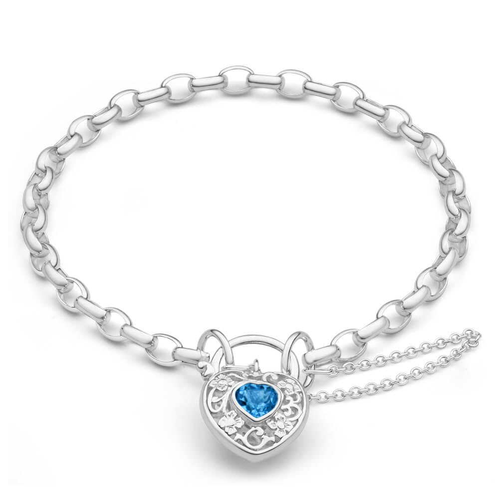 Sterling Silver Blue Topaz Belcher Link 19cm Padlock Bracelet