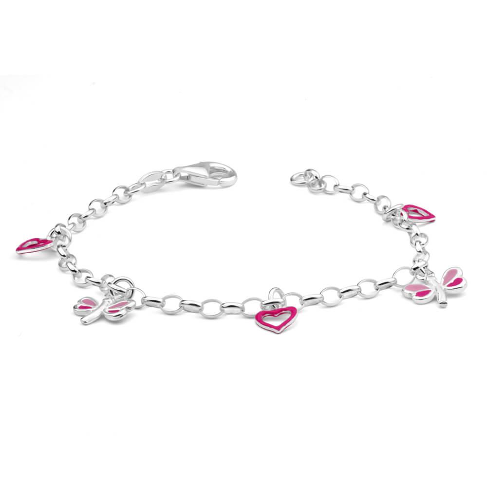 Sterling Silver Heart and Dragonfly Pink Enamel 16cm Bracelet