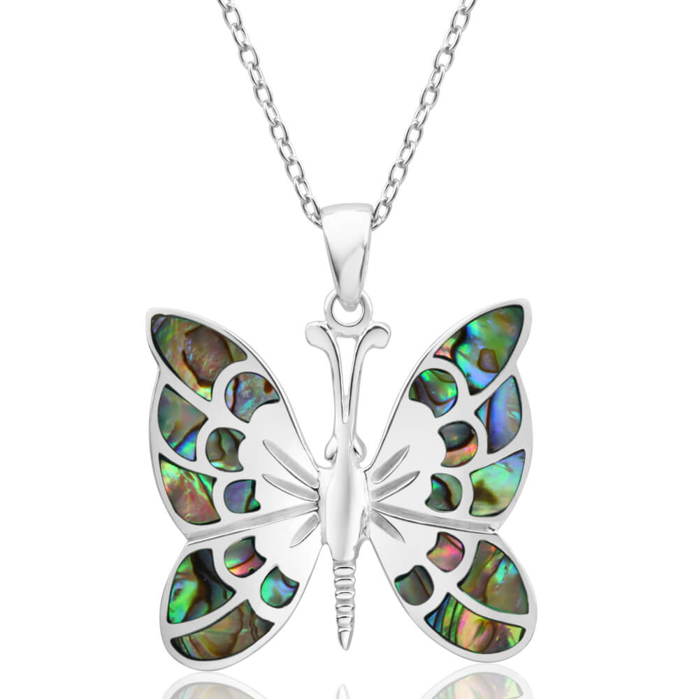 Sterling Silver Pava Shell Butterfly Pendant