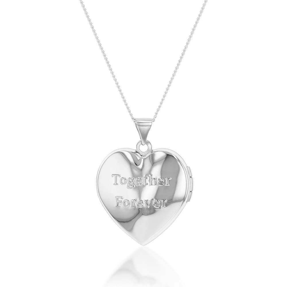 """Sterling Silver and Gold Plated Hearts Locket (Engraved """"Together Forever"""")"""