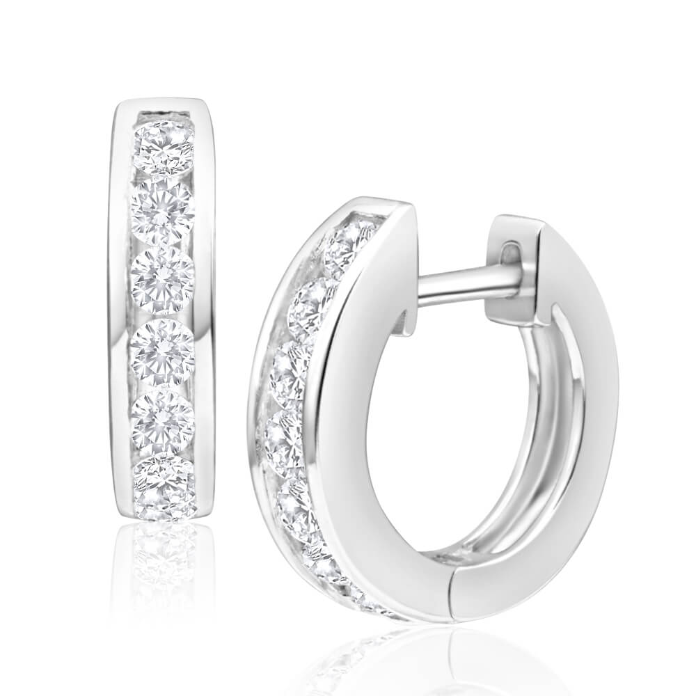 Sterling Silver Zirconia Huggies Hoop Earrings