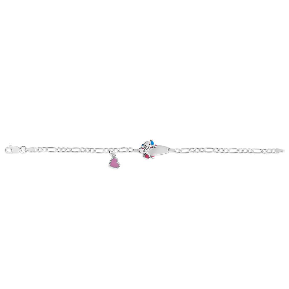 Sterling Silver Enamel Heart & Elephant 16cm Baby Bracelet