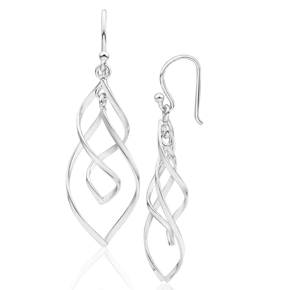 Sterling Silver Twist Teardrop Drop Earrings