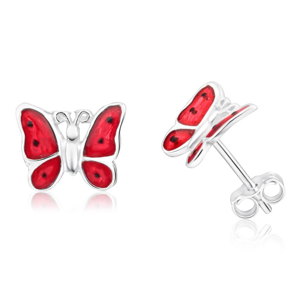 Sterling Silver Enamel Butterfly Stud Earrings