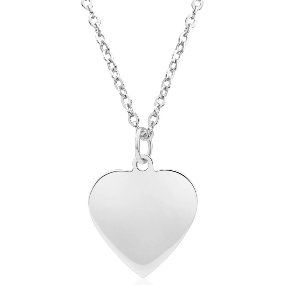 Sterling Silver 15mm Flat Heart Pendant